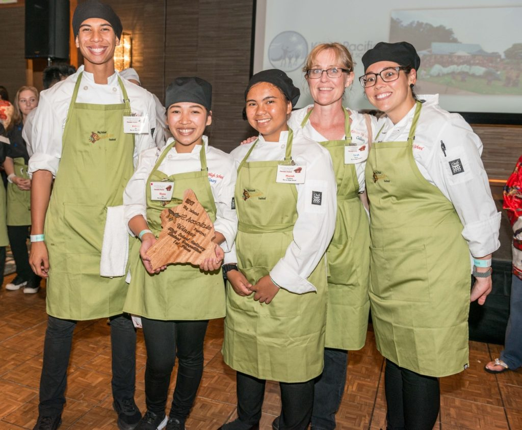 From Left: High School scholarship winners included Hannah Norman and Mina Acosta-Cabamungan of Waiakea and Rhoma Dait of Kea'au. Earning first place in the high school culinary division were students from Kea'au High School. Students at Waiakea High School placed second in the high school culinary division. Taking third place in the high school culinary division was the Konawaena team.